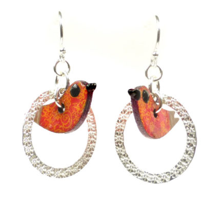 Circle Bird Earrings