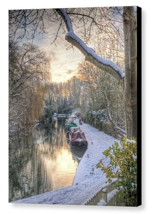 Winter Sunset On The River - Photograph on Canvas