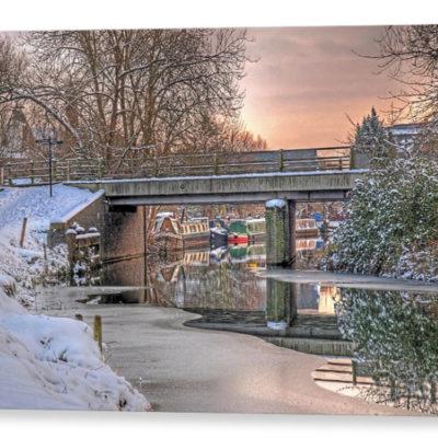 Narrow Boats Under The Bridge - Photograph on Canvas