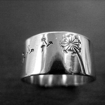 Dandelion sterling silver ring