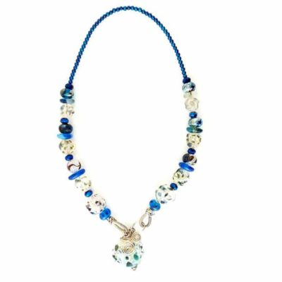 Mixed blue and white lampwork glass necklace by Sarah Lamb