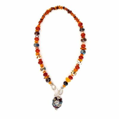 Mixed orange lampwork glass necklace by Sarah Lamb