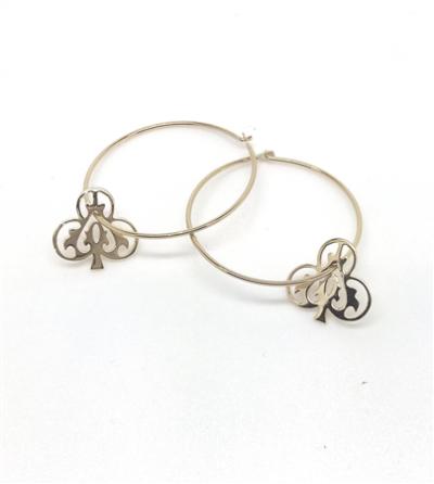 Handmade Ace of Club Sterling Silver Earrings