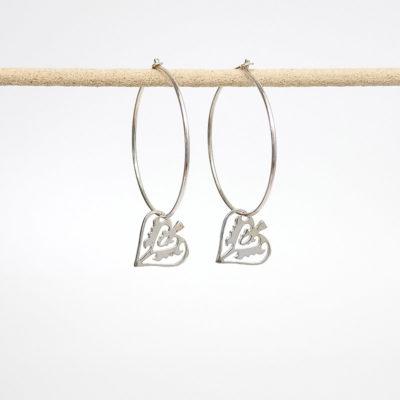 Handmade Sterling Silver earrings - Silver Ace of Club Hoops
