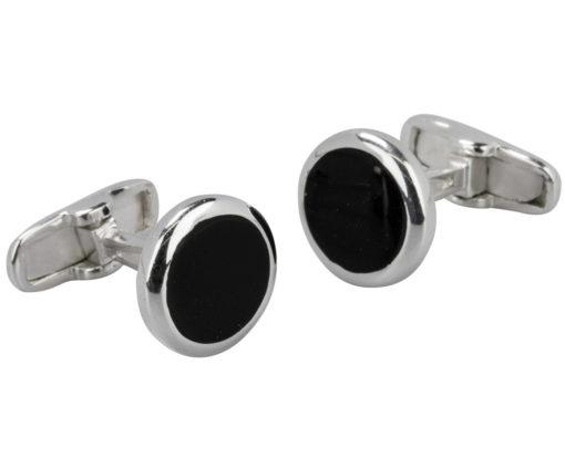 Handmade Sterling Silver Round Black Enamel Centre Cufflinks