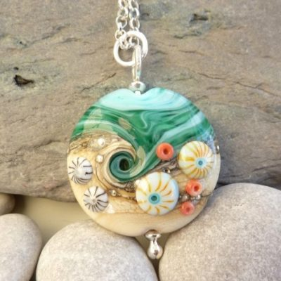 Handmade Sand & Sea Lentil Glass Necklace