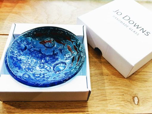 Crescent of Fish Blue Round Jewellery Dish