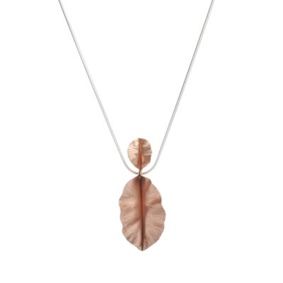 Handmade Copper Double Leaf Necklace