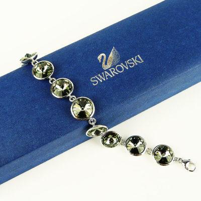 Green Swarovski & Sterling silver Bracelet