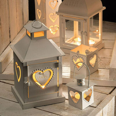 White finish metal lantern in heart design