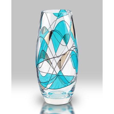 Teal Mosaic Glass Vase