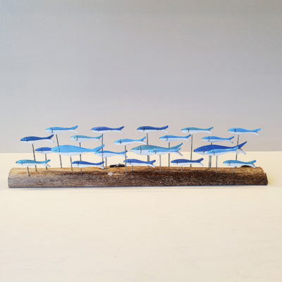 Large blue school of fish on driftwood