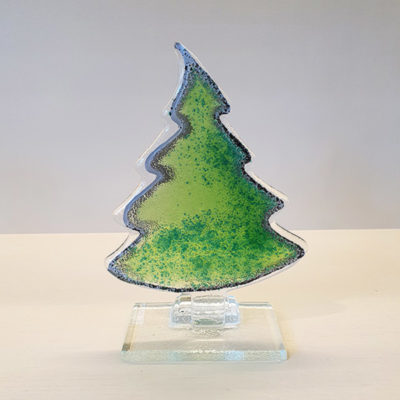 Handmade Small Fused Glass Christmas Tree