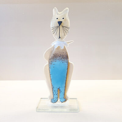 Handmade Fused Glass Kitten Blue