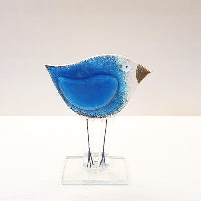 Handmade Blue Fused Glass Bird