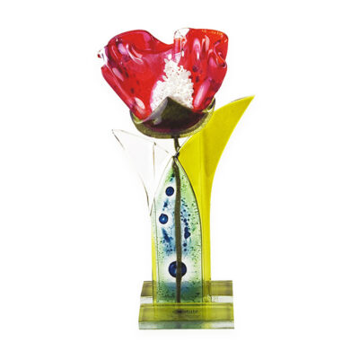 Fused Glass Red Poppy