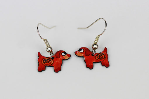 Handmade enamel dog earrings