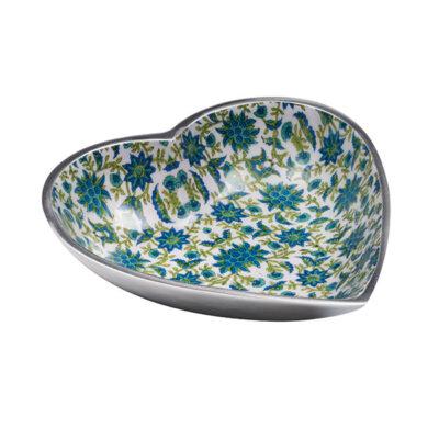 Large Floral Print Aluminium Heart Dish