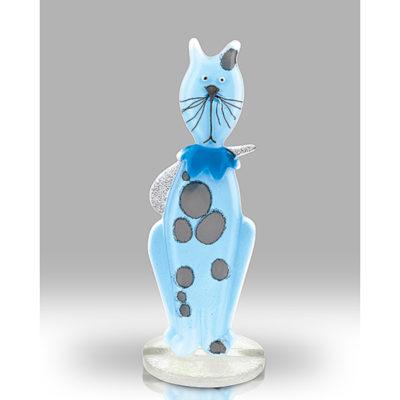 Handmade Fused Glass Kitten Blue