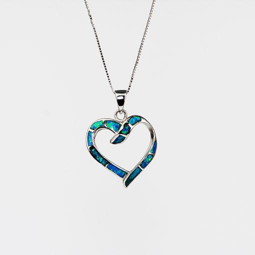 Sterling silver & opal heart necklace