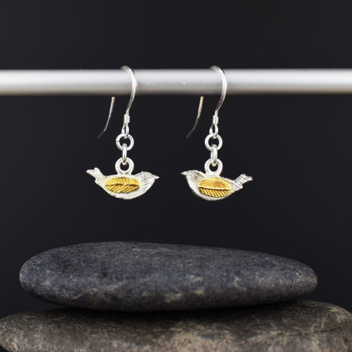 Silver & Gold Plated Bird Earrings