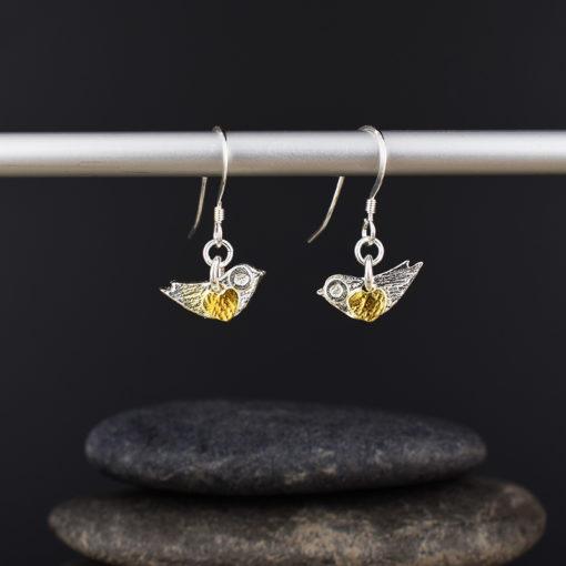 Silver & Gold Plated Mini Bird Earrings