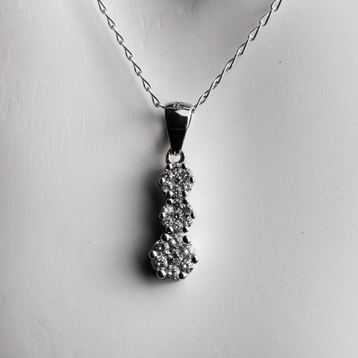 Silver & Cubic Zirconia Flower Necklace