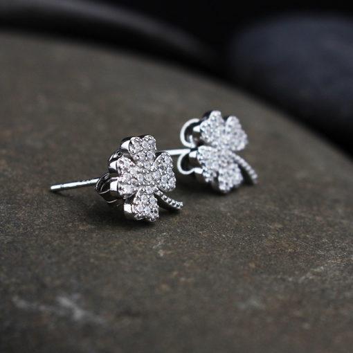 Silver & Cubic Zirconia Four Leaf Earrings