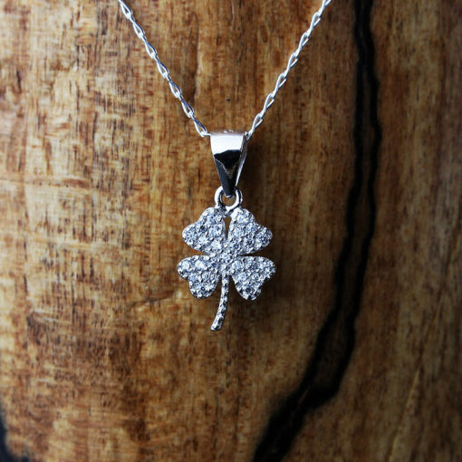 Silver & Cubic Zirconia Four Leaf Necklace