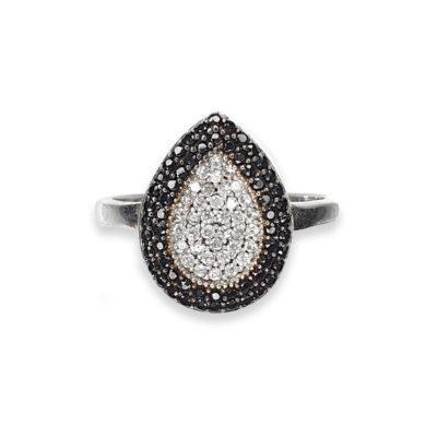 Sterling Silver Cubic Zirconia Teardrop Ring