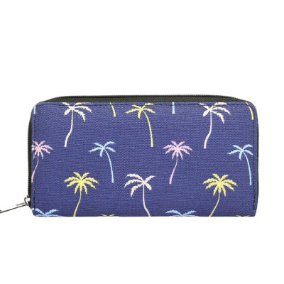 Coconut tree print canvas purse