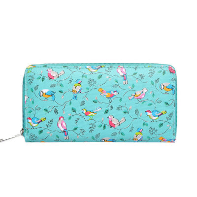 Green bird print purse