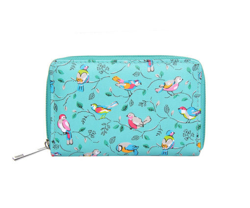 Green bird print small purse