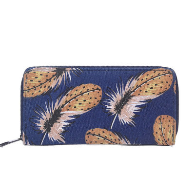 Blue feather print canvas purse
