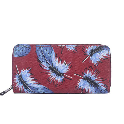Red feather print canvas purse