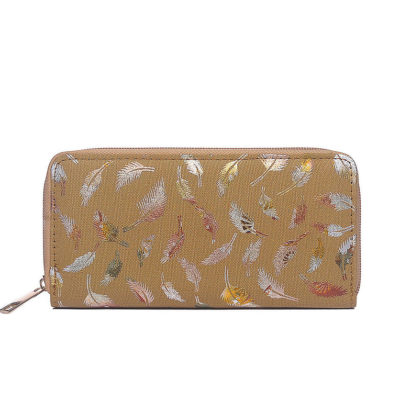 Tan metallic print canvas purse
