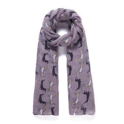 Purple sausage dog print long scarf
