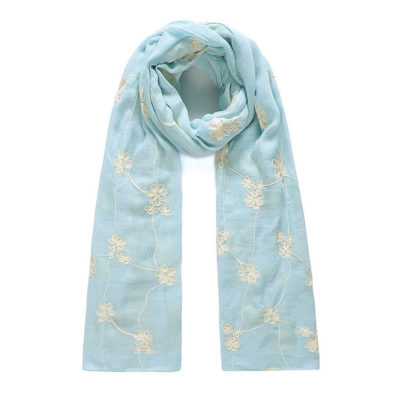 Blue/Cream floral embroidered long scarf