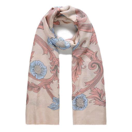 Beige floral print long scarf