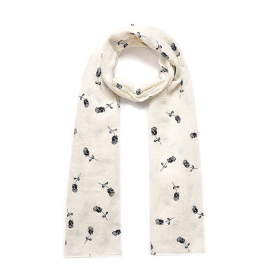 Cream rose print long scarf