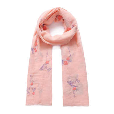 Coral bird print long scarf