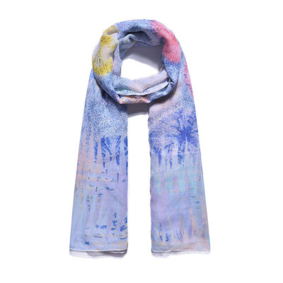 Blue firework print long scarf