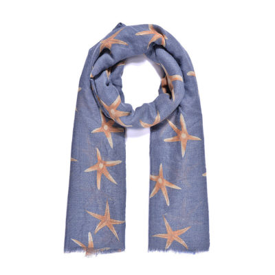 Blue/orange starfish print long scarf