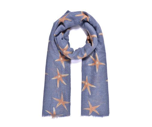 Blue/orange starfish print long scarf