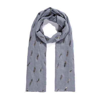 Steel blue fern metallic print long scarf