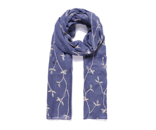 Blue/beige leafy embroidered long scarf