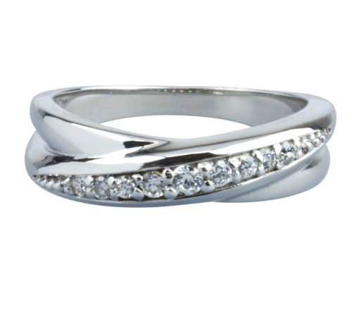 Sterling Silver Cubic Zirconia Twisted Loop Ring