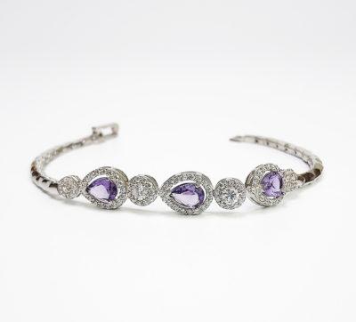 Sterling Silver Pear-Shaped Purple Cubic Zirconia Bracelet