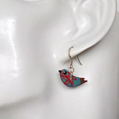 Handmade Wooden Bird Earrings