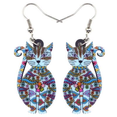 Acrylic Floral Cat Earrings